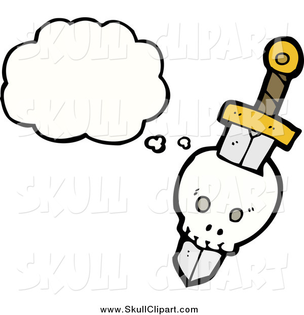 Vector Clip Art of a Skull Stabbed by a Sword with a Conversation Bubble