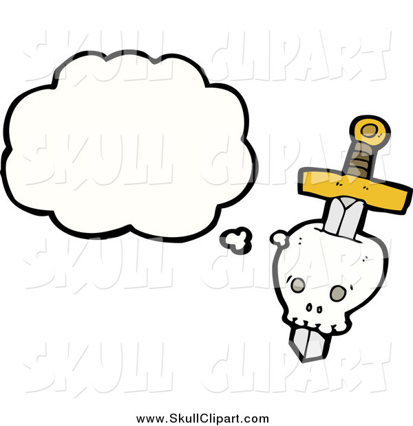 Vector Clip Art of a Skull Stabbed with a Dagger with a Conversation Bubble