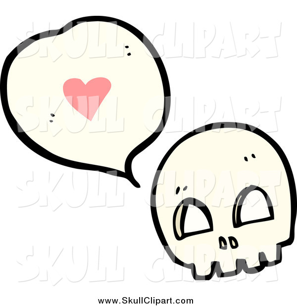 Vector Clip Art of a Skull Thinking About Love