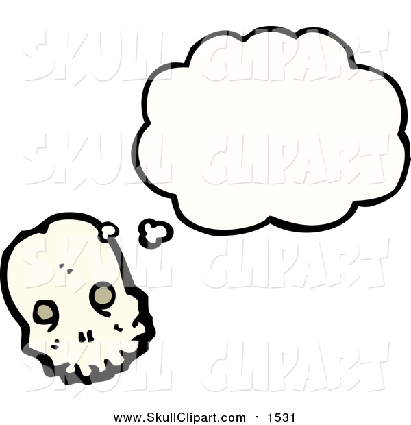 Vector Clip Art of a Skull Thinking