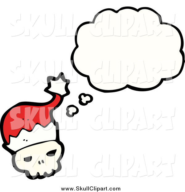 Vector Clip Art of a Skull Wearing a Santa Hat and Thinking