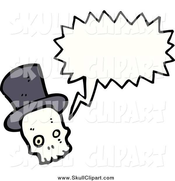Vector Clip Art of a Skull Wearing a Top Hat and Talking