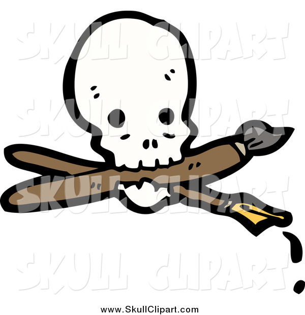 Vector Clip Art of a Skull with a Crossed Pen and Paintbrush