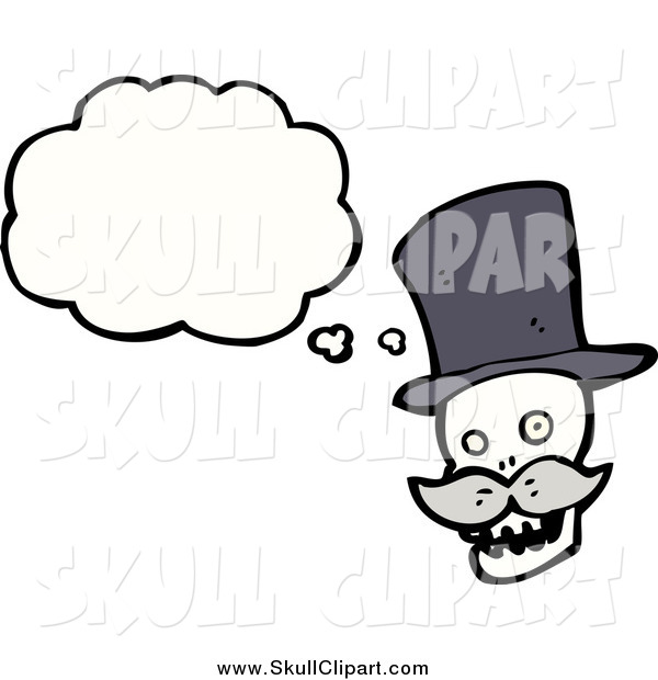 Vector Clip Art of a Skull with a Mustache and a Thought Bubble