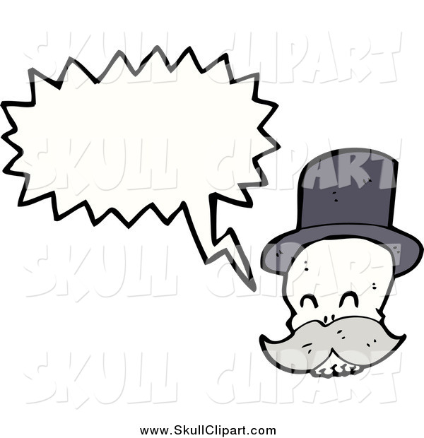 Vector Clip Art of a Skull with a Mustache Talking