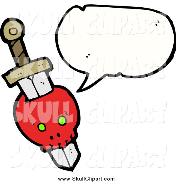 Vector Clip Art of a Skull with Dagger and Conversation Bubble