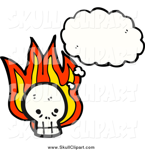 Vector Clip Art of a Skull with Flames and a Thought Bubble