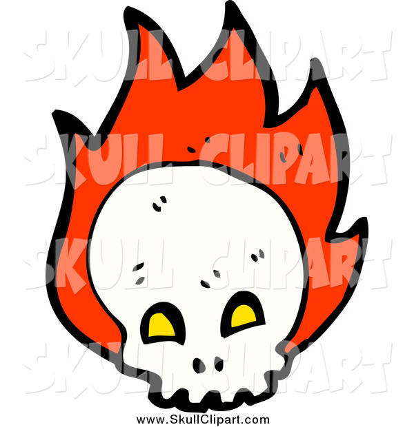 Vector Clip Art of a Skull with Flames