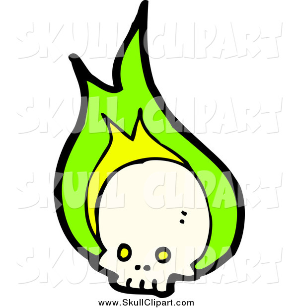 Vector Clip Art of a Skull with Green Flames
