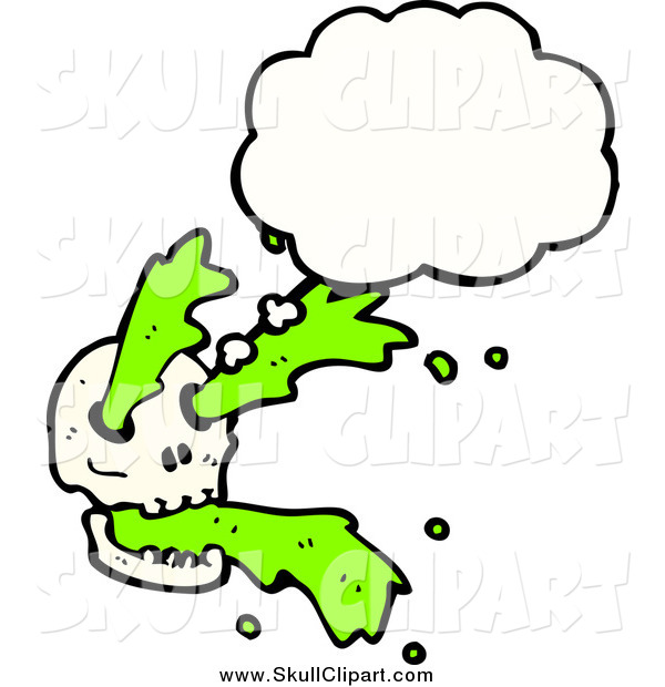 Vector Clip Art of a Skull with Green Slime and a Though Bubble