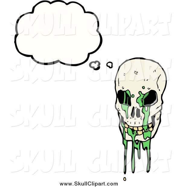 Vector Clip Art of a Skull with Green Slime Thinking