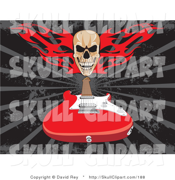 Vector Clip Art of a Skull with Red Fire over a Red Electric Guitar on a Gray and Black Background