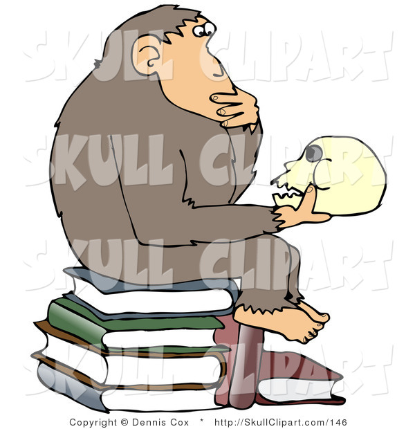 "Vector Clip Art of a Smart Chimpanzee Sitting on Top of a Pile of Books and Gazing at a Skull, a Parody of Hugo Rheinhold's ""Philosophizing Ape"" Sculpture That Was Created in 1892"