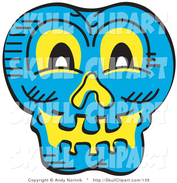 Vector Clip Art of a Smiling Blue Halloween Skull Glowing with Yellow Light