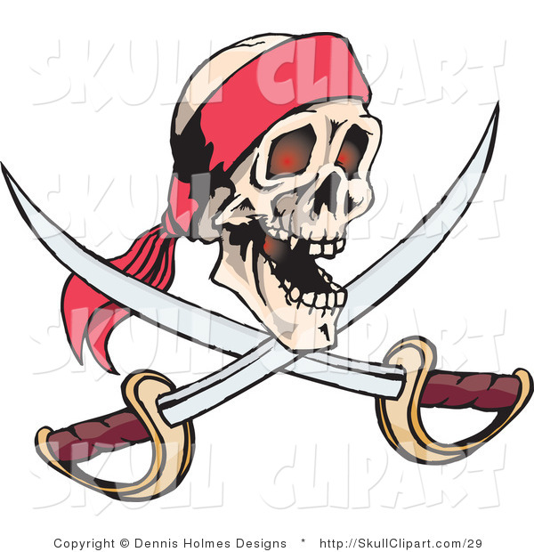 Vector Clip Art of a Smiling Human Pirate Skull with Crossed Swords