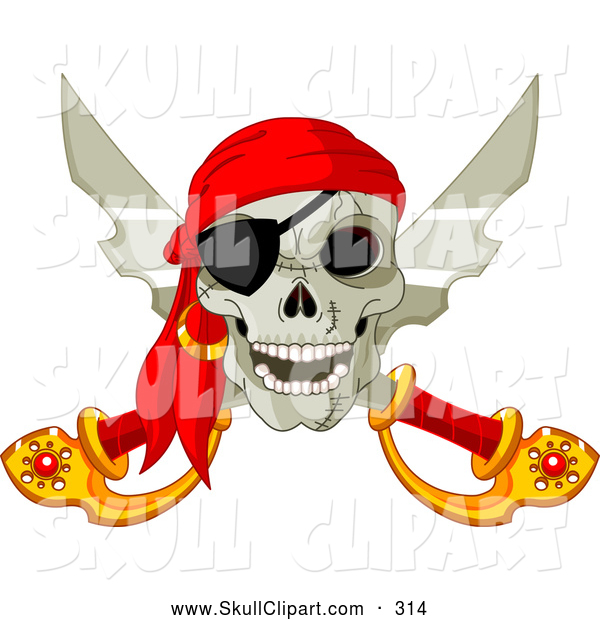 Vector Clip Art of a Smiling Pirate Skull and Crossed Swords with an Eye Patch