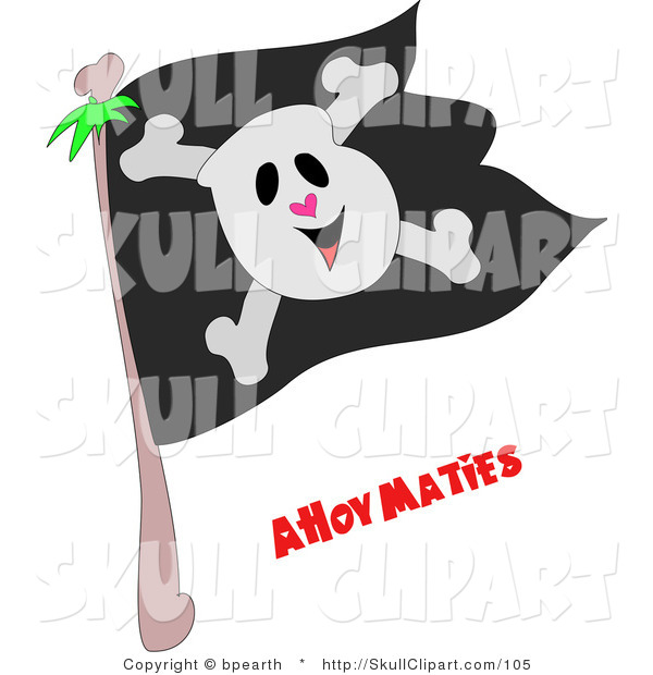 Vector Clip Art of a Smiling Skull and Crossbones on a Black Jolly Roger Pirate Flag and Ahoy Maties Text Below