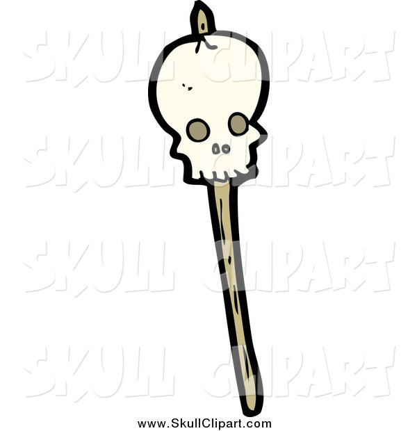 Vector Clip Art of a Speared Skull Stick