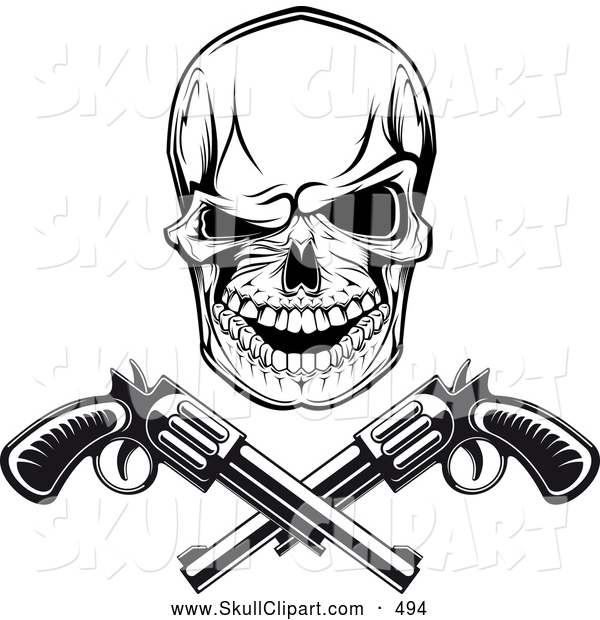 Vector Clip Art of a Spooky Black and White Gangster Skull with Crossed Pistols
