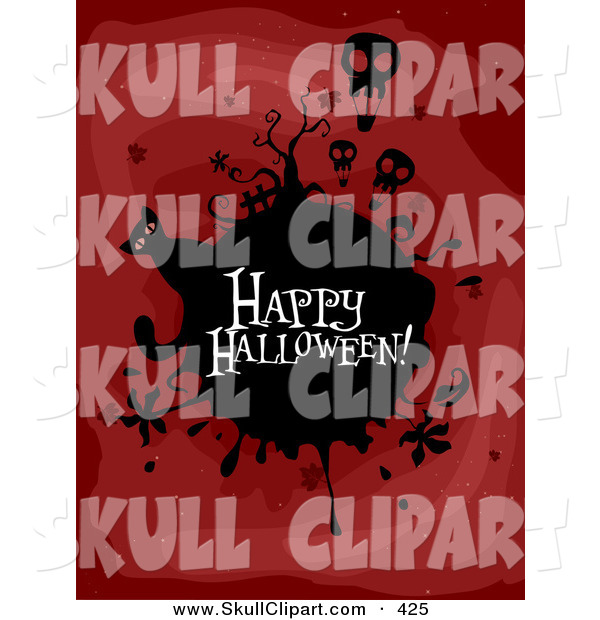Vector Clip Art of a Spooky Happy Halloween Greeting on a Black Globe with Skull Balloons and a Cat on Red