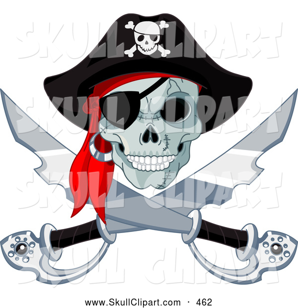 Vector Clip Art of a Spooky Pirate Skull and Crossed Swords Jolly Roger