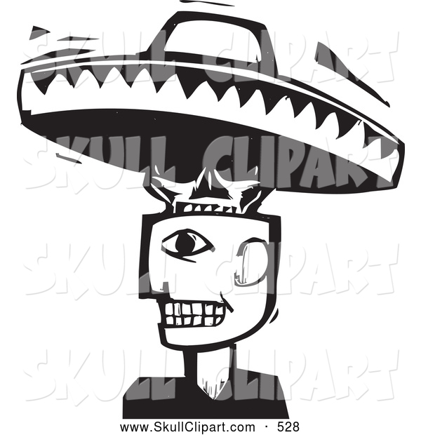 Vector Clip Art of a Strange Man with a Skull and Sombrero Head Black and White Woodcut