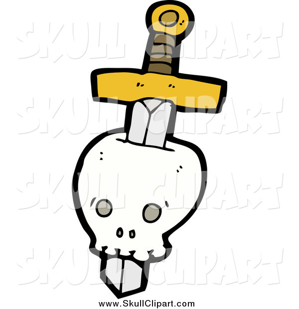 Vector Clip Art of a Sword Through a Human Skull