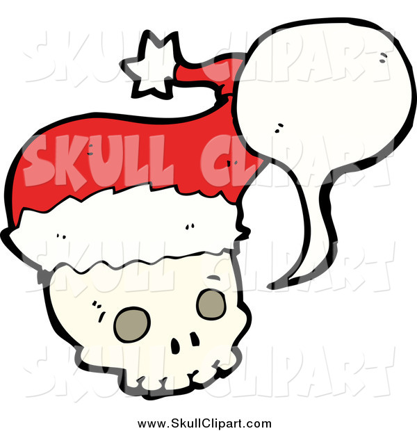 Vector Clip Art of a Talking Christmas Skull Wearing a Santa Hat