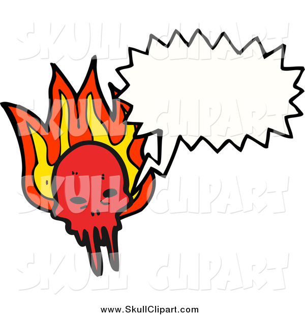 Vector Clip Art of a Talking Demon Skull with Flames