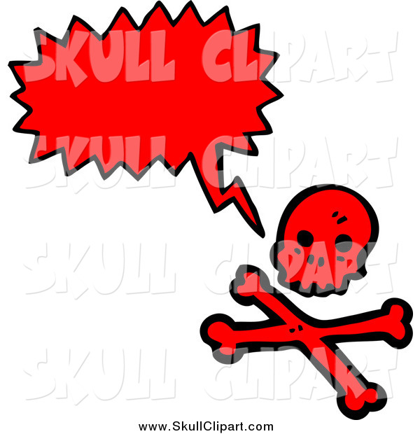 Vector Clip Art of a Talking Red Skull and Crossbones
