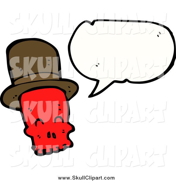 Vector Clip Art of a Talking Red Skull Wearing a Ht