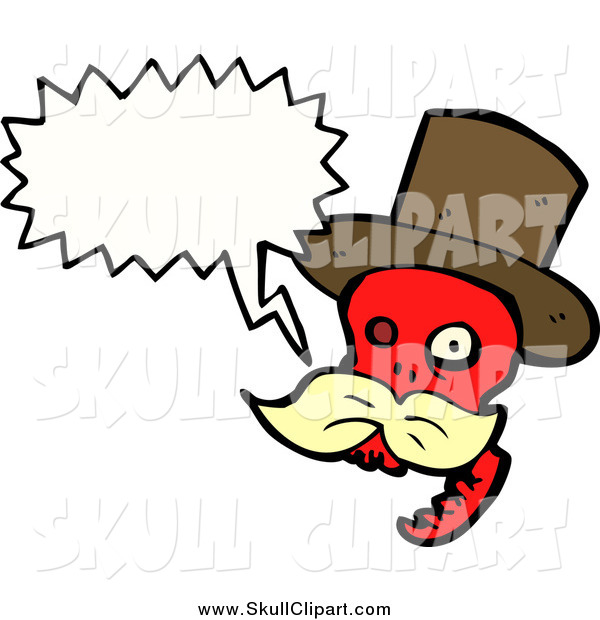 Vector Clip Art of a Talking Red Skull with a Blond Mustache