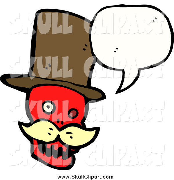 Vector Clip Art of a Talking Red Skull with Hat and Conversation Bubble