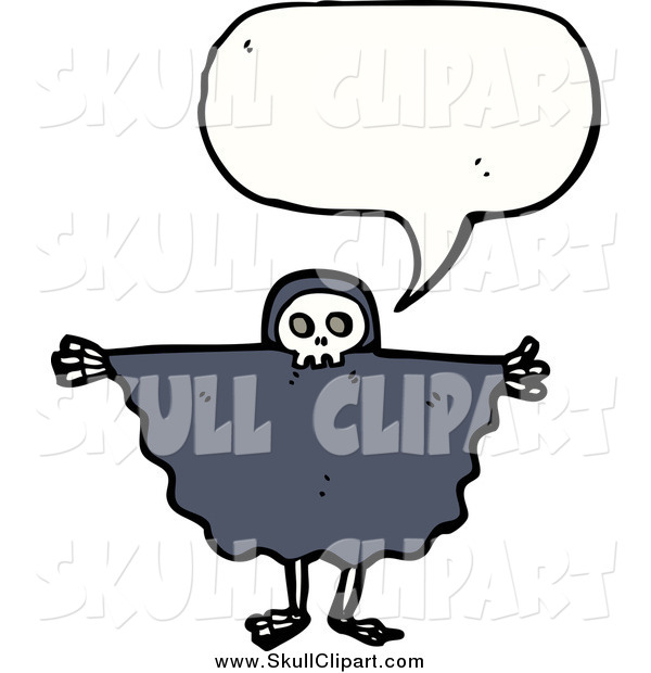 Vector Clip Art of a Talking Skeleton in a Cape
