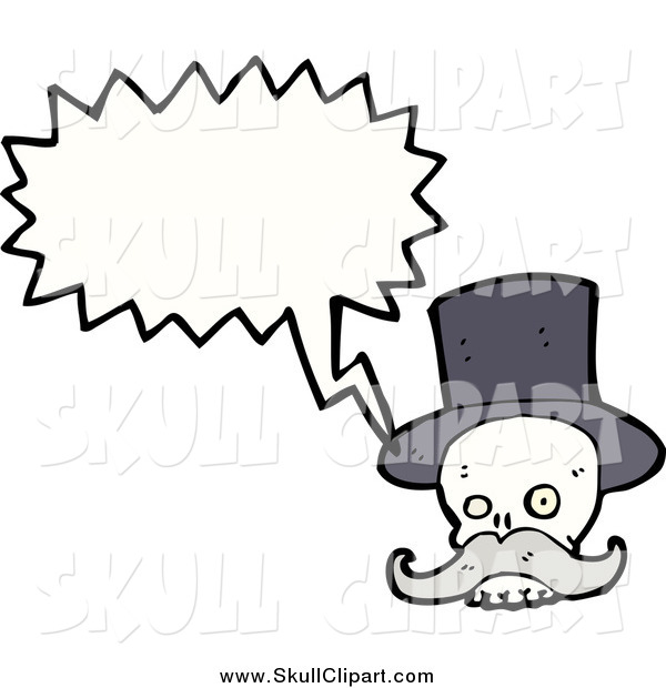 Vector Clip Art of a Talking Skull with a Gray Mustache and Top Hat