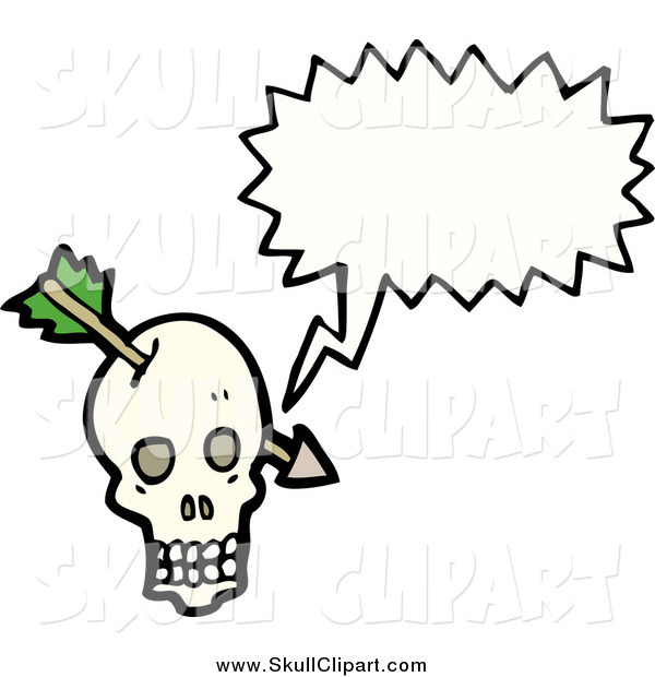 Vector Clip Art of a Talking Skull with an Arrow
