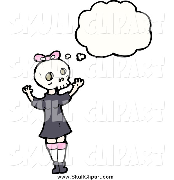 Vector Clip Art of a Thinking Girl Wearing a Skull Mask
