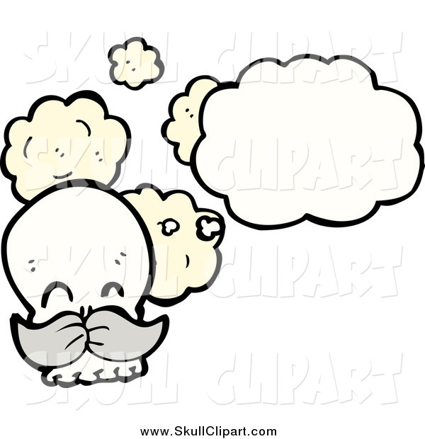Vector Clip Art of a Thinking Human Skull with a Gray Mustache