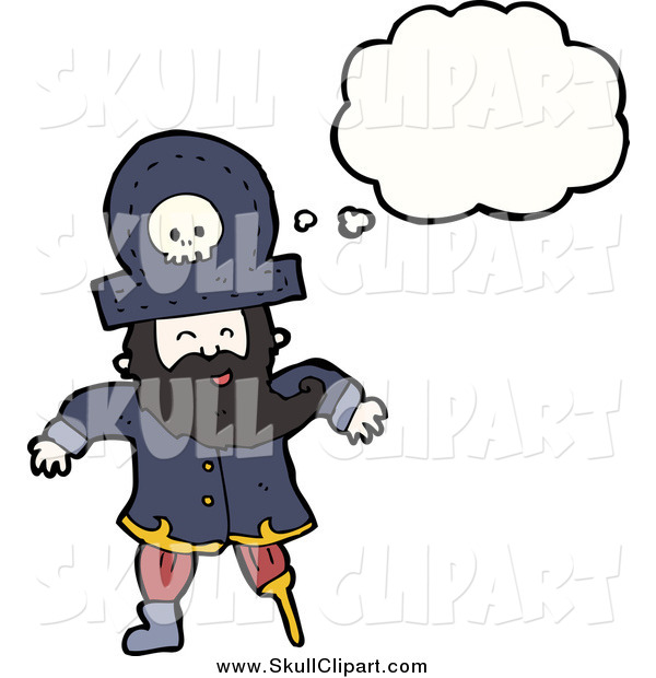 Vector Clip Art of a Thinking Pirate with a Wooden Leg