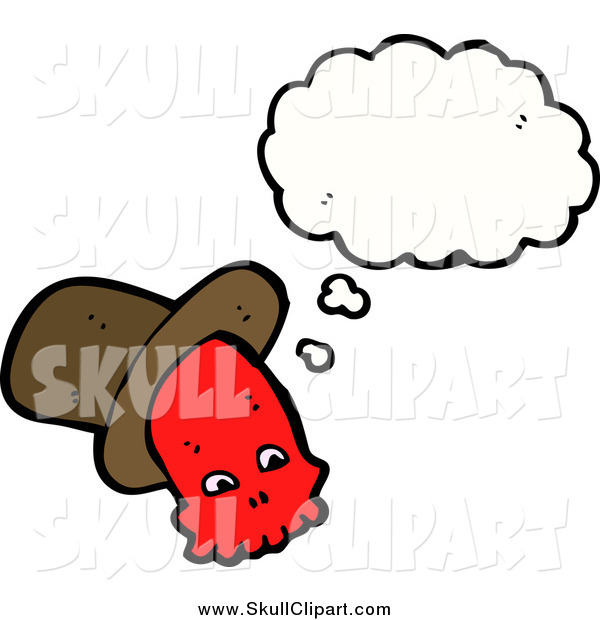 Vector Clip Art of a Thinking Red Skull with a Hat