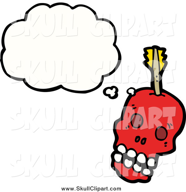 Vector Clip Art of a Thinking Red Skull with an Arrow