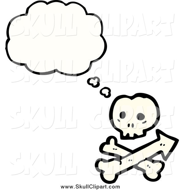 Vector Clip Art of a Thinking Skull and Crossbones