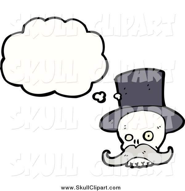 Vector Clip Art of a Thinking Skull with a Mustache and Dark Top Hat