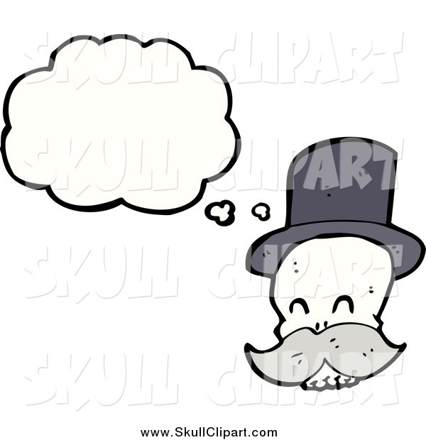 Vector Clip Art of a Thinking Skull with a Mustache and Wearing a Top Hat