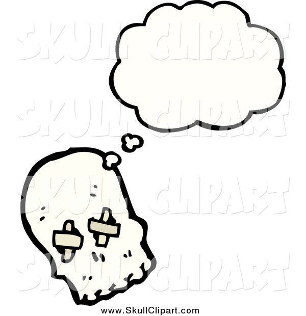Vector Clip Art of a Thinking Skull with Bandages over His Eye Sockets