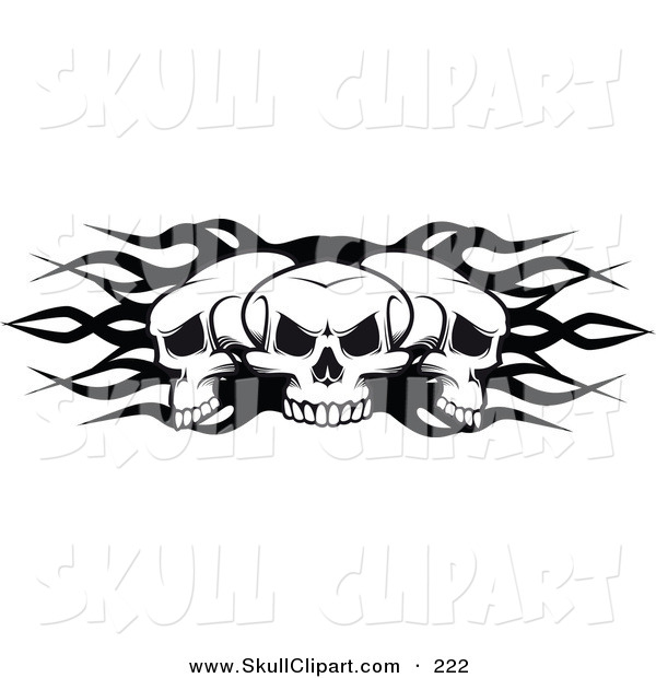 Vector Clip Art of a Three Grouped Flaming Skulls