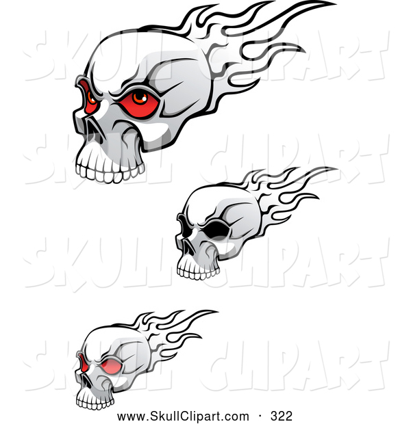 Vector Clip Art of a Trio of Flaming Skulls