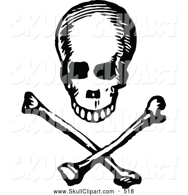Vector Clip Art of a Vintage Black and White Skull and Cross Bones Design