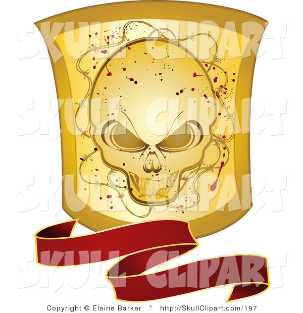 Vector Clip Art of a Wavy Red Banner with a Grunge Gold Skull Shield on White