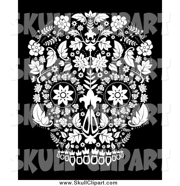 Vector Clip Art of a White Day of the Dead Skull over Black